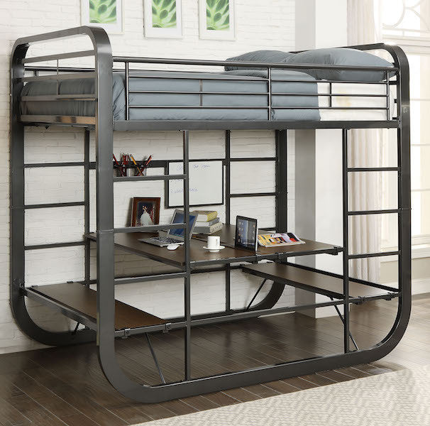 Contemporary Convertible Twin/Twin Bed and Desk- Gunmetal Finish