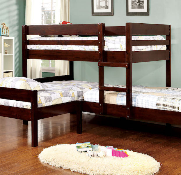 Tredal Espresso Corner 3-Piece Twin Bunk Bed Set