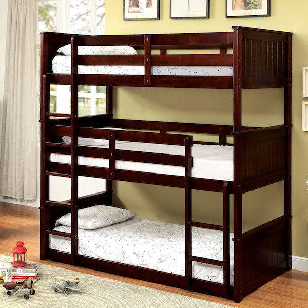 Bryce Triple Twin Espresso Bunk Bed Set