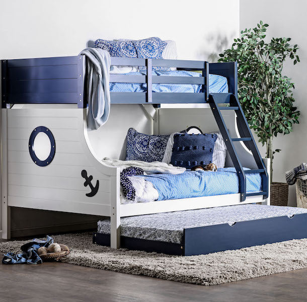 Nautical Themed Twin/Full Bunk Bed in Blue and White with Trundle Bed