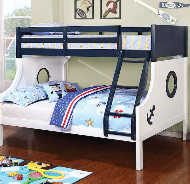 Nautical Themed Twin/Full Bunk Bed in Blue and White