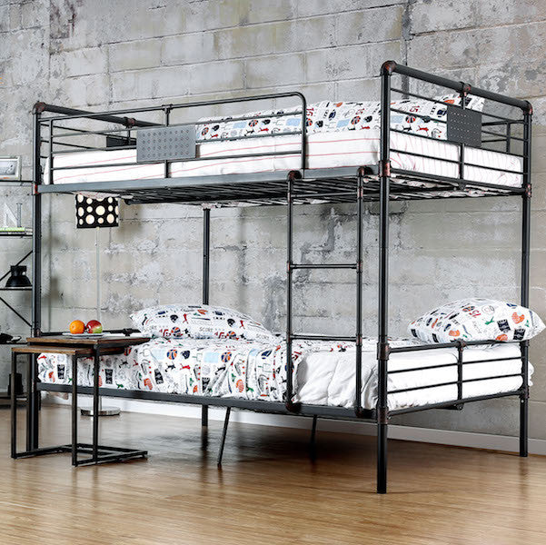 Brieson Industrial Full over Full Mental Bunk Bed