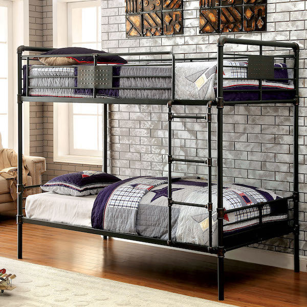 Brieson Industrial Twin over Twin Mental Bunk Bed