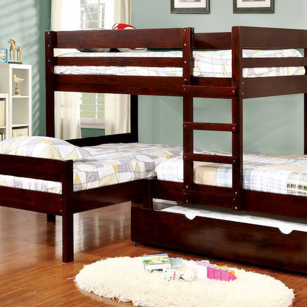 Tredal Espresso Corner 3-Piece Twin Bunk Bed Set with Trundle