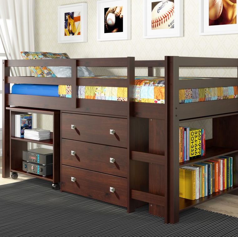 Kids Low Study Loft with Storage-Espresso Finish