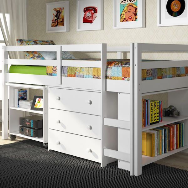 Kids Low Study Loft with Storage-White Finish
