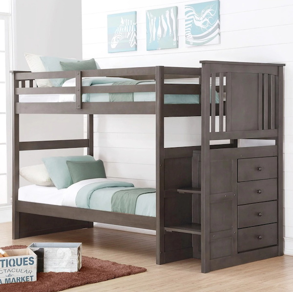 Princeton Twin over Twin Stairway Bunk Bed - Slate Gray