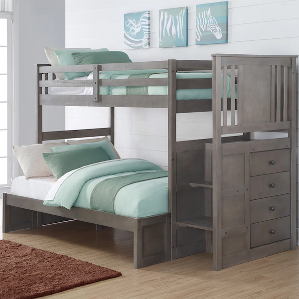 Princeton Twin over Full Stairway Bunk Bed - Slate Gray