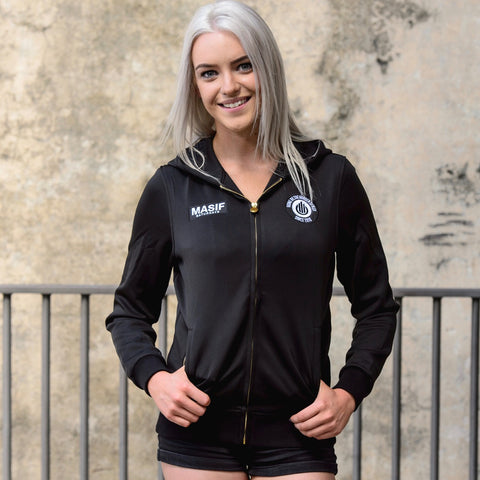 Active zip-up track jacket with hood and pockets