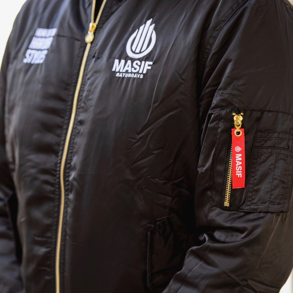 MA-1 Bomber jacket satin shell black