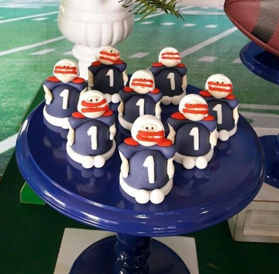 Football players chocolate figurines | Superbowl party ideas by The Party Project