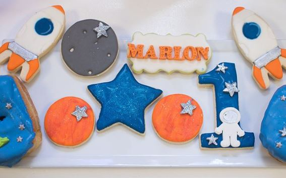 Out of space themed cookies | Party ideas by www.ThePartyProject.us