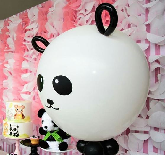 Panda Ballons-Panda birthday party- Panda baby shower idea- Girl panda party decorations-www.thepartyproject.us