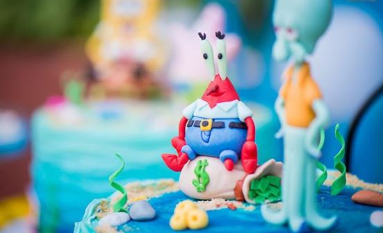 Sponge Bob cake- sponge bob birthday-Sponge Bob party idea-by the party project