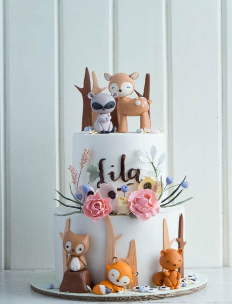 Woodland Chic cake- Woodland animals birthday-Cake-Forest animals party-Fiesta animales del bosque-Woodland creatures party-www.thepartyproject.us
