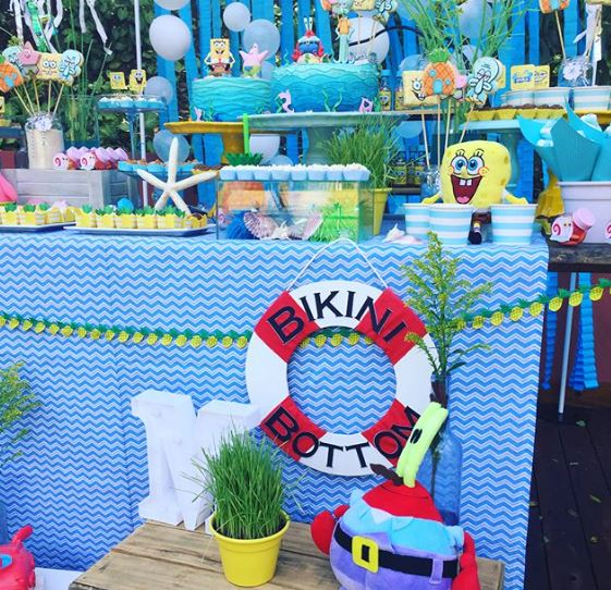 Sponge Bob Candy Bar-Sponge Bob dessert table ideas-Party inspiration- by the party project.