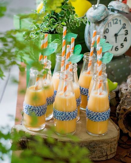 Dinosaur Juice-Dino drink-Dinosaur themed party ideas-Jurassic themed birthday party-Dinosaur dessert table ides-Dinosaur bottle decorations-party inspirations-by the party project