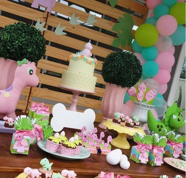 Girl Dinosaur Party ideas- Pink Dinosaur birthday- Dinosaur Party inspirations- Dino baby shower- Dinosaur dessert table- by the party project.