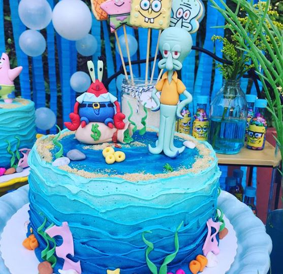 calamardo cake-Sponge Bob party ideas-Sponge Bob cake. www.thepartyproject.us