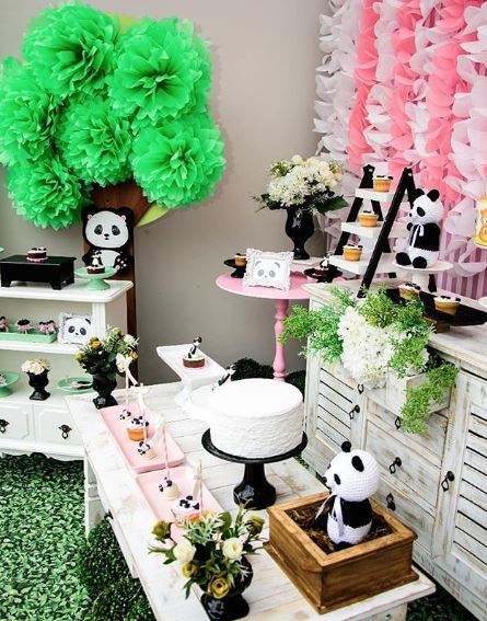 Panda birthday party- Baby shower idea-Girl panda birthday-Girl Panda dessert table-Girl Panda cake-Girl panda party foods-www.thepartyproject.us