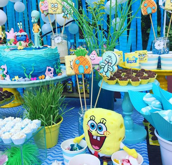 Sponje Bob party idea- Bikini Botton party, Sponje Bob dessert table idea- Birthday decoration- Party Inspiration. www.thepartyproject.us