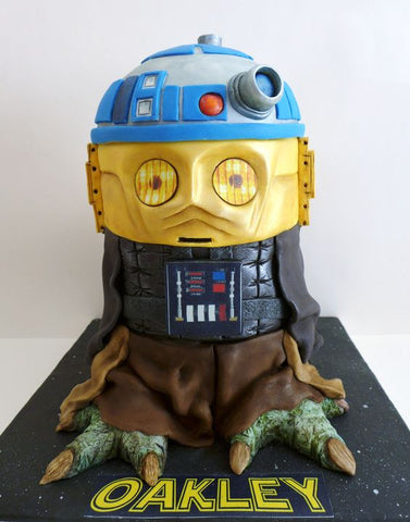 Star Wars tier cake - Yoda, R2D2, C3PO, Darth Vader - Star Wars birthday party ideas!