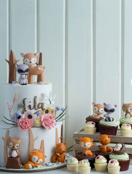 Woodland Chic Cake and Cupcakes idea- Forest Animals party-Woodland animals birthday-woodland cake- Wodland cupcakes-Treats-Woodland Candy bar treats-Woodland Babyshoer cake-Woodlans babyshower cupcakes-Woodland critters birthday-Fiesta abinales del bosque-www.thepartyproject.us