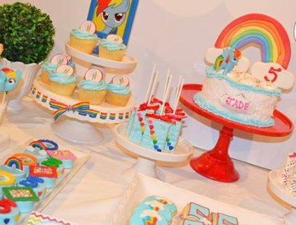 Rainbow Dash party Ides-My Little Pony birthday-My Little pony Candy bar-Rainbow Dash dessert table- My Little Pony decorations-www.thepartyproject.us