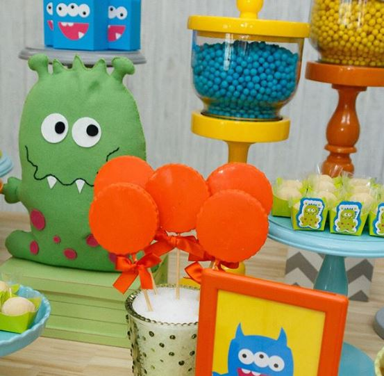 Monsters party decorations- Monsters birthday-Monster themed party-Monsters cookies centerpieces-Monsters treat holders-Monsters party inspirations-by the party project