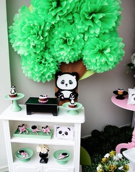 Panda Birthday party foods-Girl Panda cupcake-Treats-Panda dessert table-Panda cookies- Panda mini cake-Panda party inspirations-by the party project