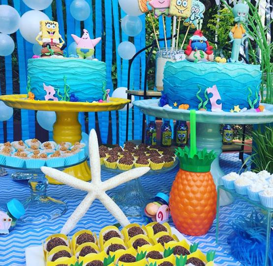 Sponge Bob candy bar-Sponge Bob cake idea-Bikini botton party-Sponge Bob party inspiration-Birthday-www.thepartyproject.us