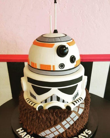 BB8, Stormtrooper and chewbacca cake - Star Wars Cake ideas