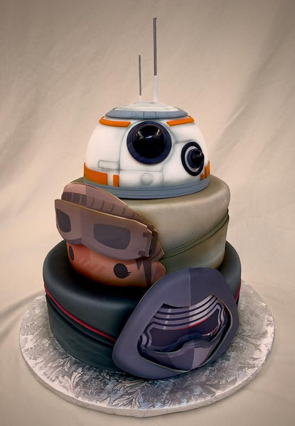 BB8, Rey and Kylo Ren cake - Star Wars - The Force awakens birthday party cake ideas!