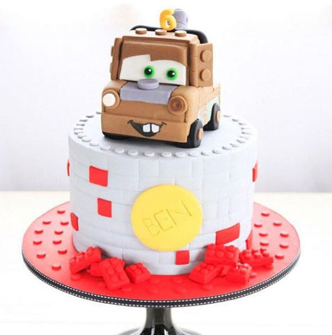 The Party Project | Cars dessert table ideas - Tow mater cake