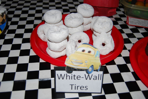 The Party Project | Cars party food ideas - white tires
