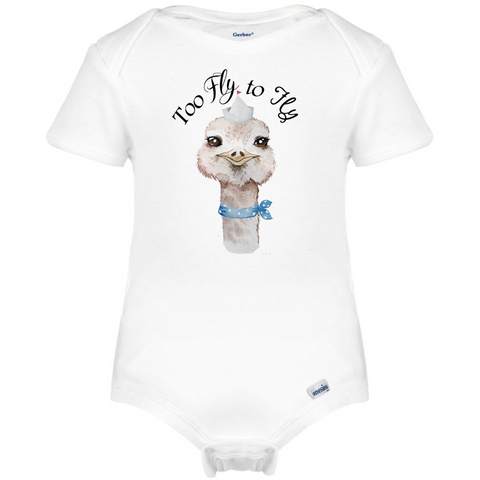 Too Fly to Fly Boy Ostrich Baby  Onesie®, Farm Baby Clothes