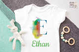 Personalized Name baby bodysuit, Letter E, Custom baby clothes