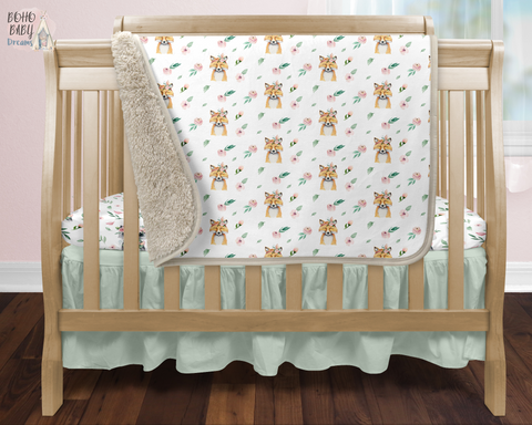 Boho Foxes Sherpa Infant Blanket, Woodland Baby Blanket