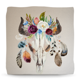 Boho Feathers Skull Ottoman Pouf, Bohemian room decor