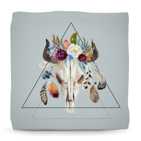Geometric Skull Ottoman Pouf, Bohemian room decor