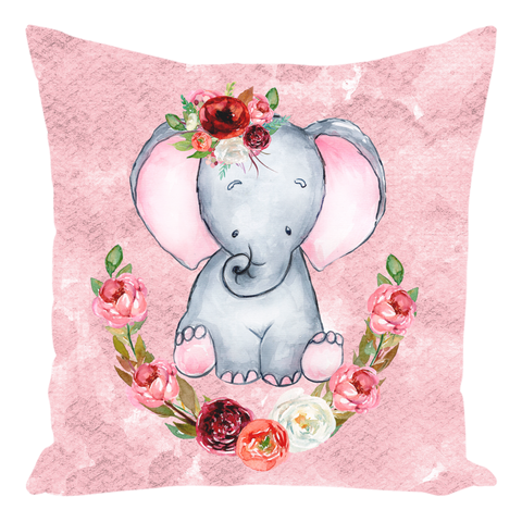 Watercolor Elephant Throw Pillows, Girl Nursery Decorations