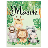 Friends in the Jungle Minky Blankets, Safari Bedroom Decorations
