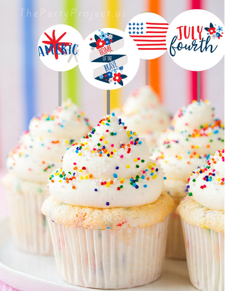 Patriotic cupcake toppers | 4th of July party printables!