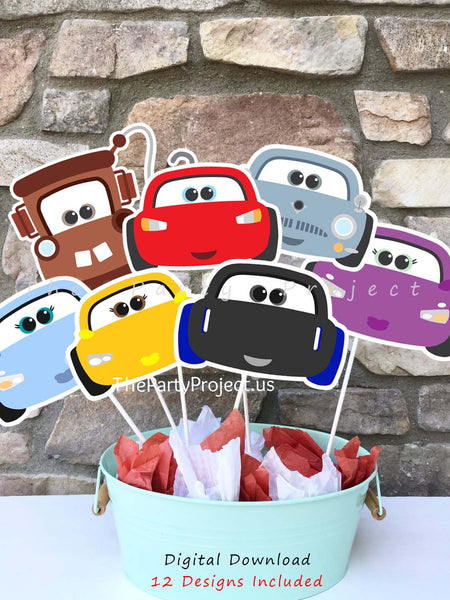 THE PARTY PROJECT | Adorable cars 1 2 3 centerpieces! - Cars party printables.