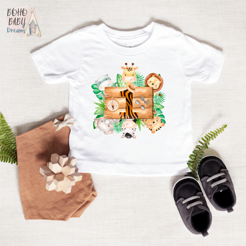 1st Birthday Baby Shirt, Safari Baby CLothes