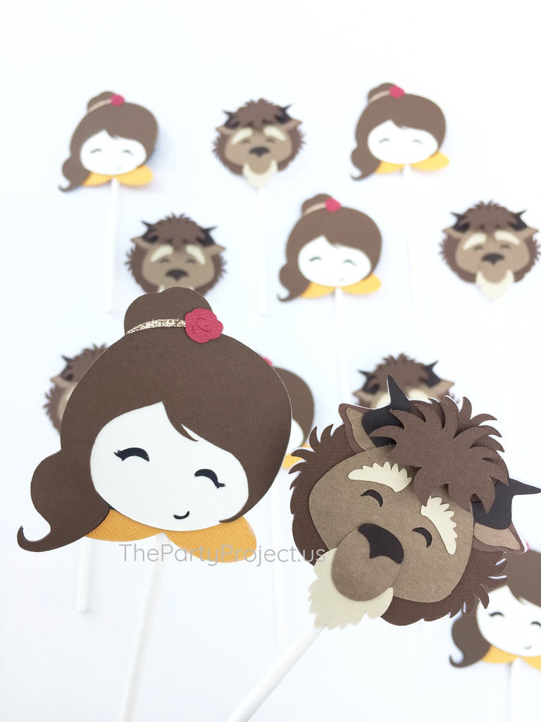12 Beauty and the Beast Cupcake toppers | Pirncess party cupcake picks!