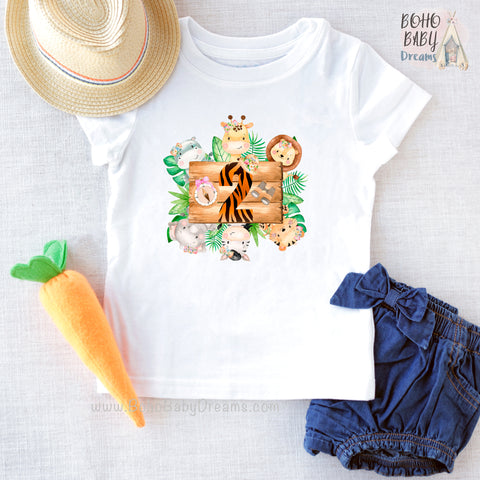 Two Safari Girl Shirt, Zoo Birthday Clothes