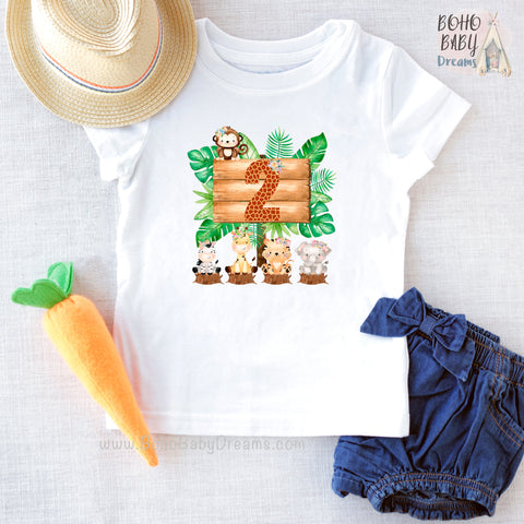 Two Giraffe Safari Girl Shirt, Zoo Birthday Girl Clothes