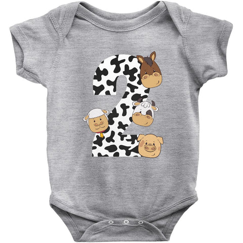 THE PARTY PROJECT | Barnyard Baby clothing - Farm second birthday onesie