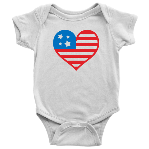 America Heart Baby and Toddler Shirt, Patriotic Baby Clothes